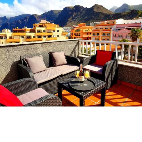 Apartment with 2 bedrooms in Puerto de Santiago with wonderful mountain view furnished terrace and WiFi 900 m from the beach