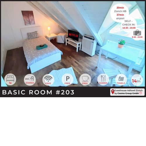SELF-CHECK-IN - Single bed with shared bathrooms at Guesthouse Adliswil-Zürich 203